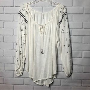 FREE PEOPLE EMBELLISHED TUNIC w/ TIES | Cream  Med